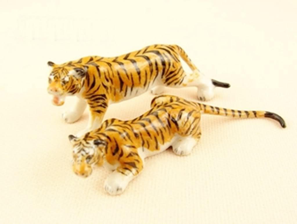 Dollhouse Miniatures Ceramic Tiger FIGURINE Animals Decor by ChangThai Design