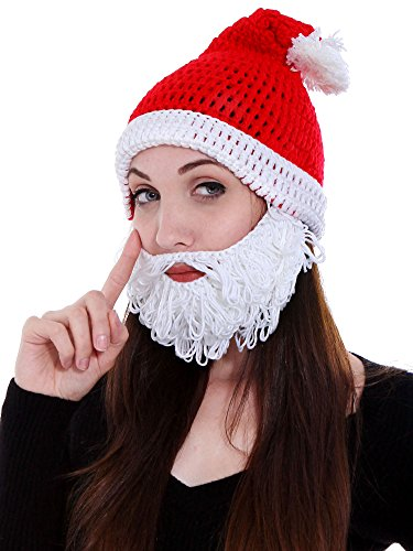Simplicity Men's Women's Christmas Costume Knitted Santa Hat with Beard set (Funny Santa Costumes)