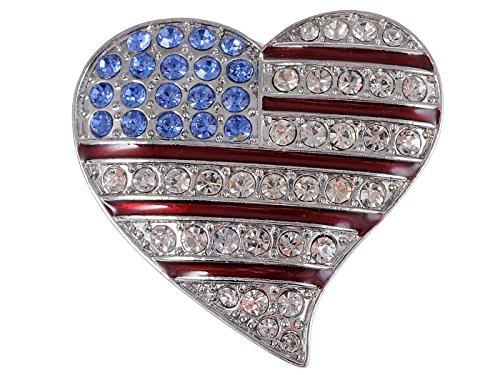 Crystal Rhinestone 4th of July American USA Flag Patriotic Pin Brooch, Heart (Red Rhinestone Heart Pin)