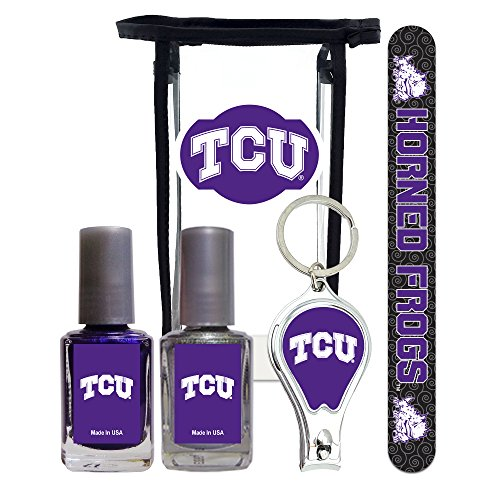 Texas Christian University Horned Frogs Manicure Set with 7-Inch Nail File, Nail Clippers, 2 Nail Polishes in Team Colors, and Toiletry Bag. NCAA Gifts and Gear for Women