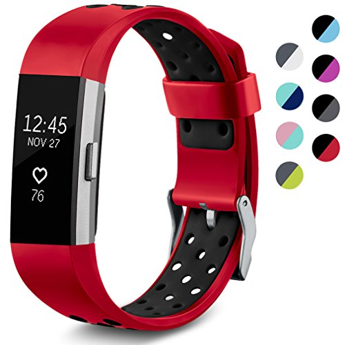 Maledan Replacement Sport Bands with Air Holes Compatible for Fitbit Charge 2, Red/Black, Small