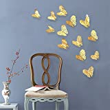 PinkBlume 36 Pcs Gold Butterfly Decals Hollow-out 3D Butterfly Stickers Glitter Art Murals for Wall or Party Decorations