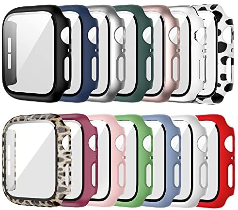 14 Pack Case for Apple Watch 44mm Series 6/5/4/SE with Tempered Glass Screen Protector, Haojavo Hard Ultra-Thin Scratch Resistant Bumper Protective Cover for iWatch Accessories
