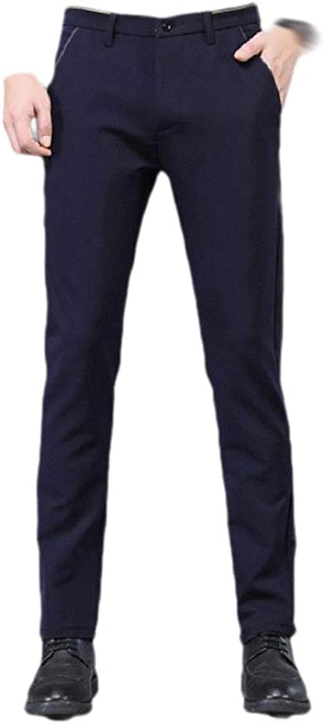 Tootess Men's Slim Solid Color Mid Waist Business Mid Waist Plain Front Pant