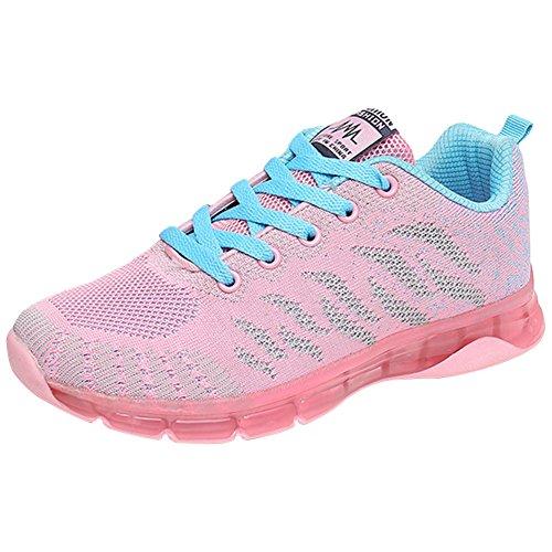Wealsex Calzado De Running Para Mujer Amortiguamiento Transpirable Deportes Al Aire Libre Correr EN Asfalto Rose