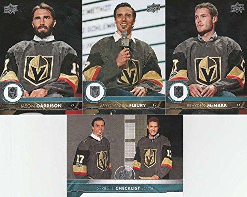2017-18 Upper Deck Complete Vegas Golden Knights Team Set of 11 Cards: Marc-Andre Fleury(#183), Jason Garrison(#184), Brayden McNabb(#185), Deryk Engelland(#429), Nate Schmidt(#430), David Perron(#431), Reilly Smith(#432), William Karlsson(#433), James Neal(#434), Jonathan Marchessault(#435), Oscar Lindberg(#436)