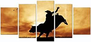 Sea Charm- Bull Rider at Sunset,Modern 5 Pieces Wall Art Cowboy Silhouette Picture Giclee Artwork Printed,Framed Painting for Home Office Wall Decoration