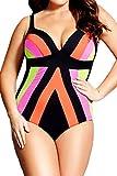 FIYOTE Women Plus Size Strapped Color Splice One Piece Swimwear (XXXL, Multicolored)