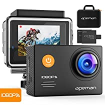 Apeman A70, Action Cam Impermeabile Wifi Sports Cam FHD 14MP Dual Batterie Custodia portatile con accessori, Nero
