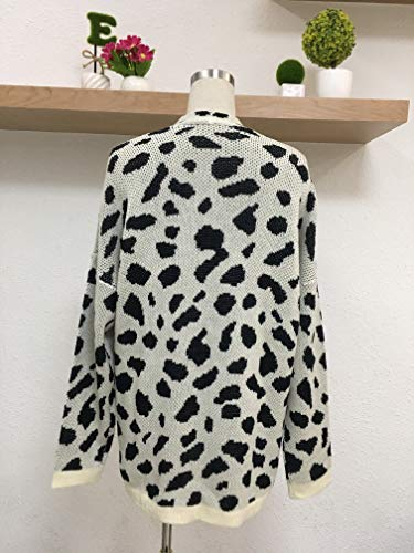 Cardigan Cardigan Cardigan Giacca Tasche Manica con A Stampati Moda Eleganti Cappotto Leopard A Autunno Light Maglia Apricot Donne Forti Primaverile Outerwear Maglia Donna Lunga Taglie Casuale U8wqrznPU