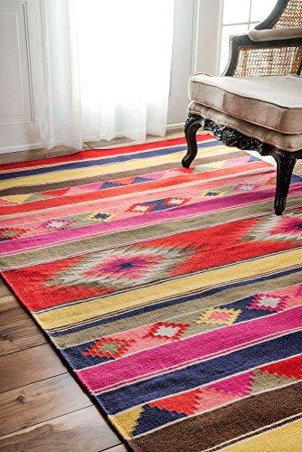 nuLOOM  Flatweave Ladonna Tribal Kilim Rug, 4' x 6', Multicolor