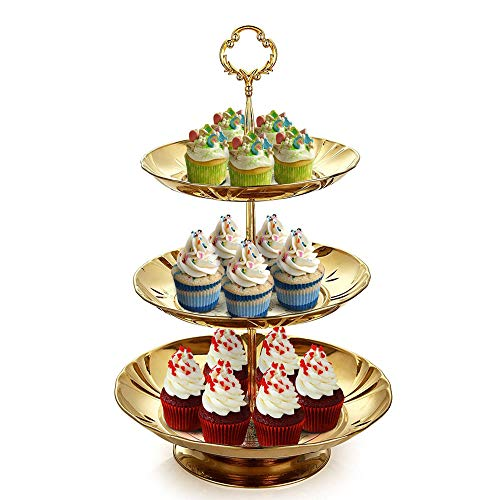 Three Tier Cake and Fruit Stand by Imillet -Stainless Steel Stand of Golden for Cakes Desserts Fruits Candy Buffet Stand for Wedding &Home&Party (1 pack) ()
