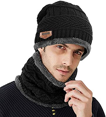 Samione Sombrero de Punto de Invierno, 2 Piezas Gorros de Punto con Bufanda/Calentar Sombreros Gorras Beanie para Mujer y Hombre (Negro)