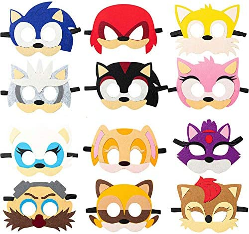 Alirea Sonic Felt Masks Party Favors for Kid (12 Packs), Hedgehog Themed Party Supplies Dress Up Costumes Mask Photo Booth Prop Cartoon Character Cosplay Birthday Gift for Children Boys Girls