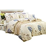 nice rustic duver cover  Yellow Duvet Cover Sets Floral Cream Bedding - Comfortable, Breathable, Soft & Extremely Durable, Queen Size