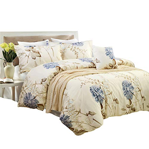 Yellow Duvet Cover Sets Floral Cream Bedding - Comfortable, Breathable, Soft & Extremely Durable, Queen Size