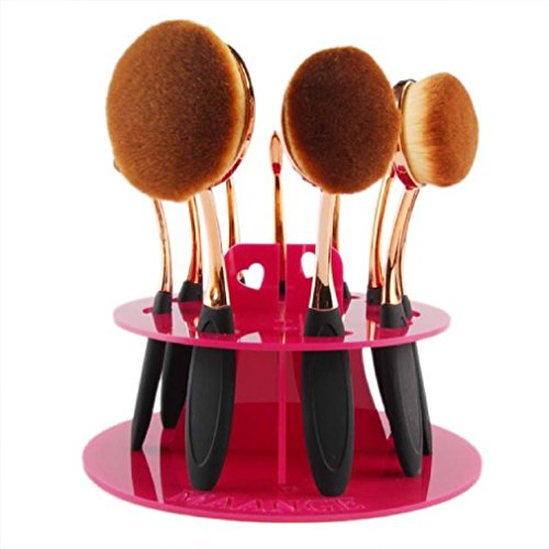 Oval Lower Shelf (GBSELL Fashion 10 Hole Oval Makeup Brush Holder Drying Rack Organizer Cosmetic Shelf Tool (Hot Pink))
