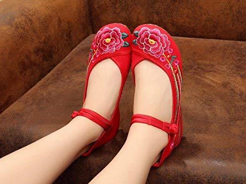 Moontang Bestickte Schuhe Sehnensohle ethnischer Stil Stil Stil weibliche Stoffschuhe Mode bequem Tanzschuhe rot 36 (Farbe   - Größe   -) cd9b26