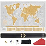 Gold and White Scratch Off World Map Poster - Extra Large Scratchable World Map - Premium Travel World Map Gift - Best XL Gold Scratch Off Map of The World Grey - All Accessories and eBook Included