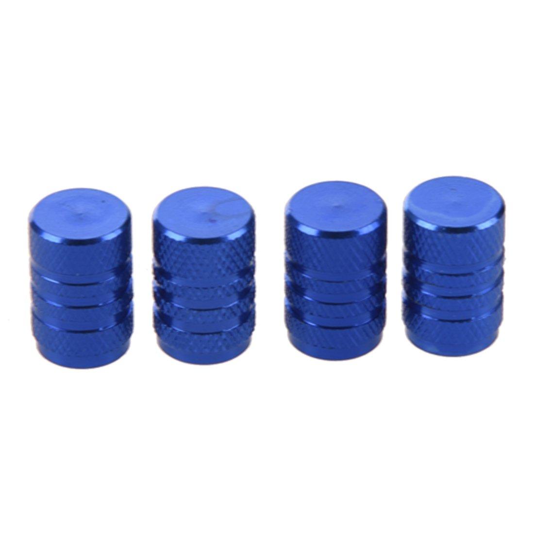 Autoreifen Ventilkappen - SODIAL(R) 4 Stuecke blau Legierung Auto Reifen Ventilkappen Autoventil Verschlusskappen SODIAL£¨R£© 058157