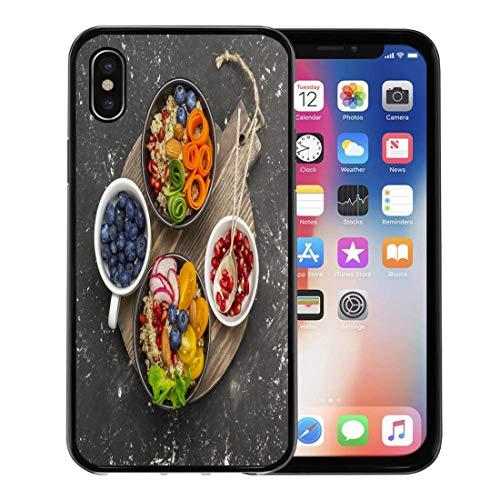 Emvency Phone Case for Apple iPhone Xs Case/iPhone X Case,Vegetarian Quinoa Bowl Healthy Breakfast Snack Detox Tomato Cucumber Soft Rubber Border Decorative, Black]()