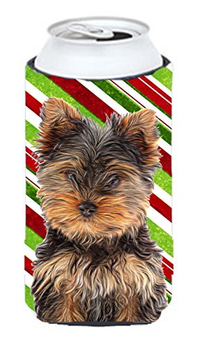 Candy Cane Holiday Christmas Yorkie Puppy / Yorkshire Terrier Tall Boy Beverage Insulator Hugger KJ1174TBC - Candy Cane Huggers
