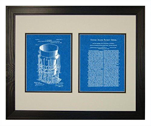 Pine Cupola (Cupola Furnace Having Sectional Water Jackets Patent Art Blueprint Print in a Solid Pine Wood Frame with a Double Mat (18