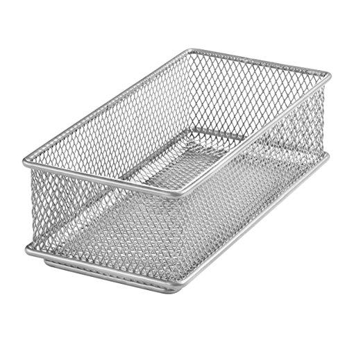 Ybm Home Silver Mesh Drawer Cabinet and or Shelf Organizer Bin, School Supply Holder Office Desktop Organizer Basket 1594 (3x6)
