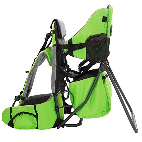 Clevr Premium Cross Country Baby Backpack Hiking Child Carrier with Stand and Sun Shade Visor Kid Toddler, Green | Lightweight - 5lbs | 1 Year Limited Warranty (Best Baby Backpack Carrier 2019)