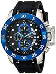 With a flexible, black polyurethane strap and chronograph dial that reads units per hour, this I-Force from Invicta is the perfect watch for any sports' enthusiast. Luminous hands and markers make a stark contrast against a blue, ion plated s...