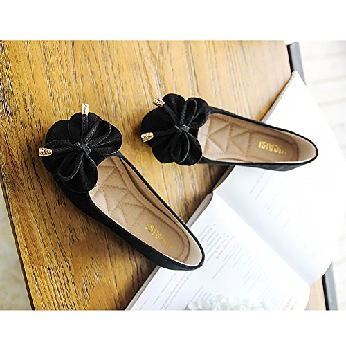 T-JULY Womens Ballet Flats Round Toe Casual Slip On Bowknot Soft Shoes Moccasin Black eNIQR7