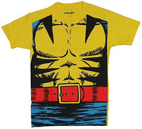 [Wolverine (Marvel Comics) Mens T-Shirt - Blue Pants Abs Costume Front (Medium) Yellow] (Wolverine Costume Tee)