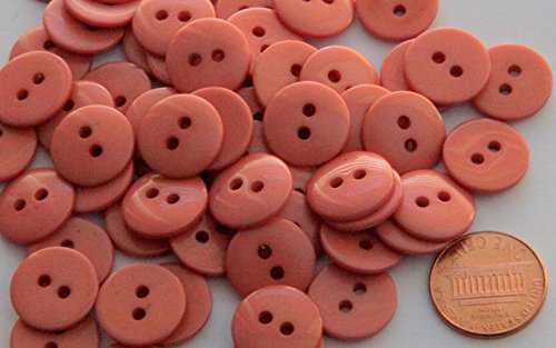 24 New Shiny Pinkish Terracotta Plastic Button For Sewing Diy Craftss 9 16  15Mm
