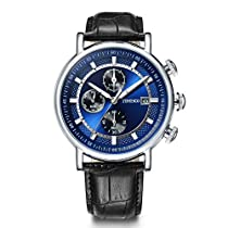 Time100 Mens Watches Black Leather Strap Multifunctional Chronograph Watch for Men W8009G