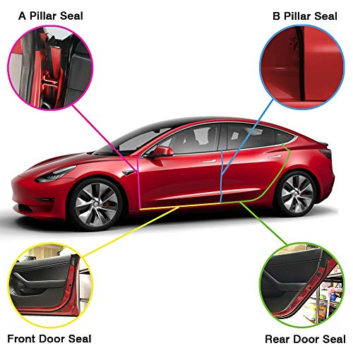 (Auto safety Tesla Model 3 Wind Noise Reduction Seal Door Seal Kit Soundproof Rubber Weather Draft Seal Strip)