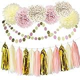 Arts & Crafts : Bridal Shower Decorations Tissue Pom Pom Pink Cream Glitter Gold Tissue Paper Pom Pom Paper Tassel Garland Polka Dot Tissue Poms for Girl Baby Shower Decorations Pink Gold Party Decor First Birthday