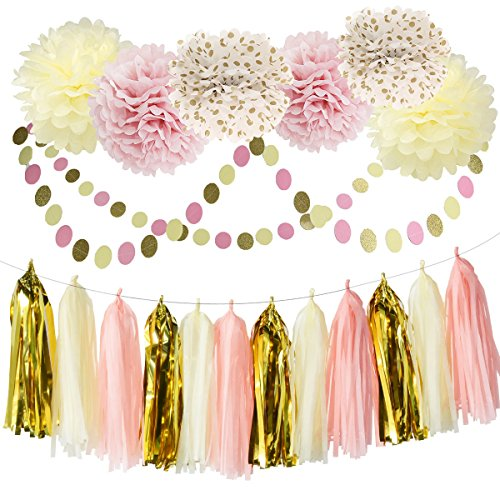 Bridal Shower Decorations Tissue Pom Pom Pink Cream Glitter Gold Tissue Paper Pom Pom Paper Tassel Garland Polka Dot Tissue Poms for Girl Baby Shower Decorations Pink Gold Party Decor (Baby Shower Decor Kits)