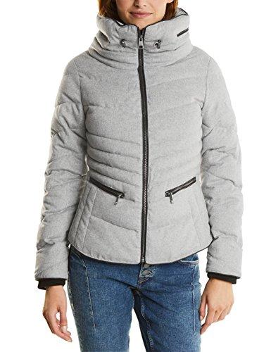 Street One Women's Ojp_Wool Shaped Padded Jacket Grau (Misty Grey Melange 11030)