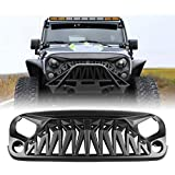ICARS Front Grill Matte Black Shark Grille with Mesh for 2007-2018 Jeep Wrangler Rubicon Sahara Sport JK JKU