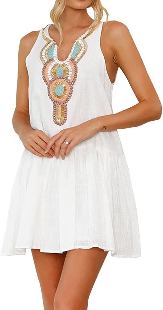 Longra Damen Strandkleider Weiß Sommerkleid Frauen Ärmellos Strand