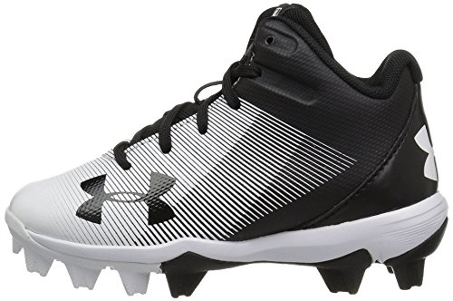 Under Armour Boys' Leadoff Mid Jr. RM Baseball Shoe, Black (011)/White, 1 by Under Armour (Image #5)