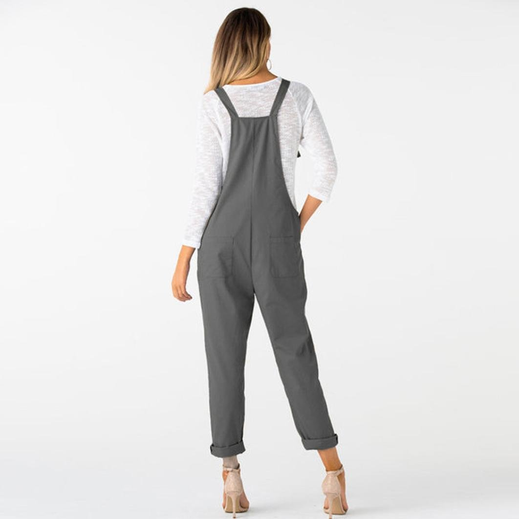 807ded16519e Amazon.com  vermers Clearance Women Straps Jumpsuits Casual Loose Dungarees  Long Pockets Rompers Pants Trousers  Clothing