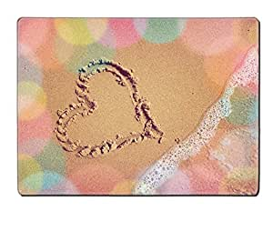 Natural Rubber Placemat Kitchen Table 15.8 x 12 x 0.2 inches IMAGE ID 32577792 Heart on the sea sand Vintage background with place for inscriptions
