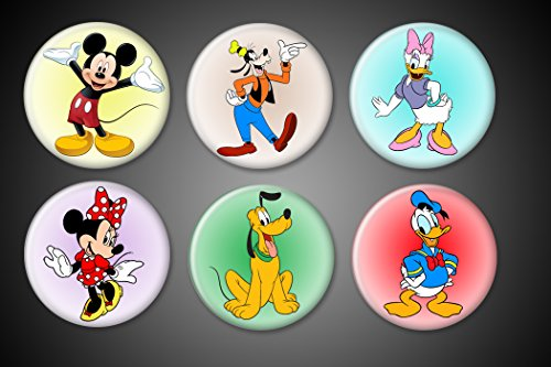 Disney Mickey Mouse Magnets and Gang set of 6 1 inch round Mickey Mouse Minnie Mouse Donald Duck Goofy Daisy Pluto - for fridge lockers magnet boards... (Mouse Mickey Round)