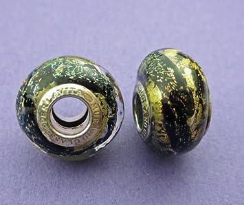 d1a10e05a Electricsilver Neue 14 mm schwarz & gold Europäischer Stil dichroitisch Murano  Glas Rondell Charm Bead 1