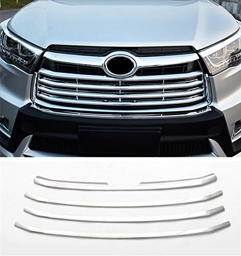 Baodiparts ABS Chrome Front Grille Molding Cover Trim for Highlander 2014-2016 1 set