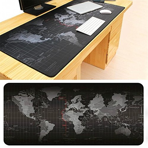 GS Large Size Mouse Pad 900x400x2mm World Map Speed Game Keyboard Mouse...