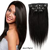 Romantic Angels 14''(35cm) Remy Human Hair Clip in Extensions 6 Pieces/set 50g Natural Black(#1B)
