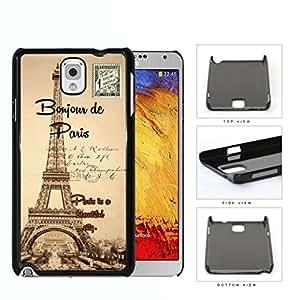 Paris France Bonjour Postcard Hard Plastic Snap On Cell Phone Case Samsung Galaxy Note 3 III N9000 N9002 N9005