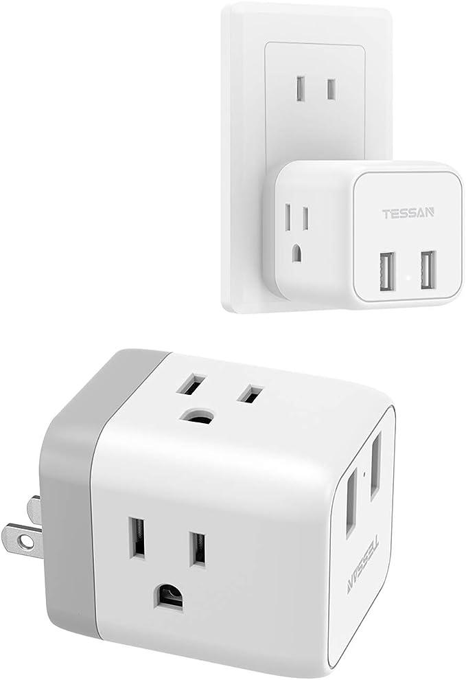 USBコンセント タップ 3AC口 2USBポート付き usb充電タップ 1875W usb コンセント TESSAN 分岐コンセント 電源タップ usb 直挿し タコ足 コンセント 家庭 海外旅行 外出に